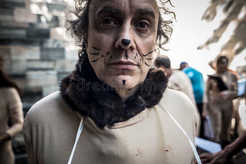 Διαμαρτυρία Italiani Animalisti ενάντια στην εβδομάδα μόδας του Μιλάνου σε Septem στοκ φωτογραφία με δικαίωμα ελεύθερης χρήσης