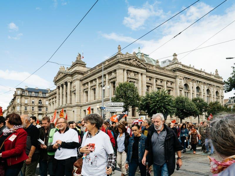 Διαμαρτυρίες στη Γαλλία ενάντια στις μεταρρυθμίσεις Στρασβούργο Bibliothequ Macron στοκ εικόνα με δικαίωμα ελεύθερης χρήσης