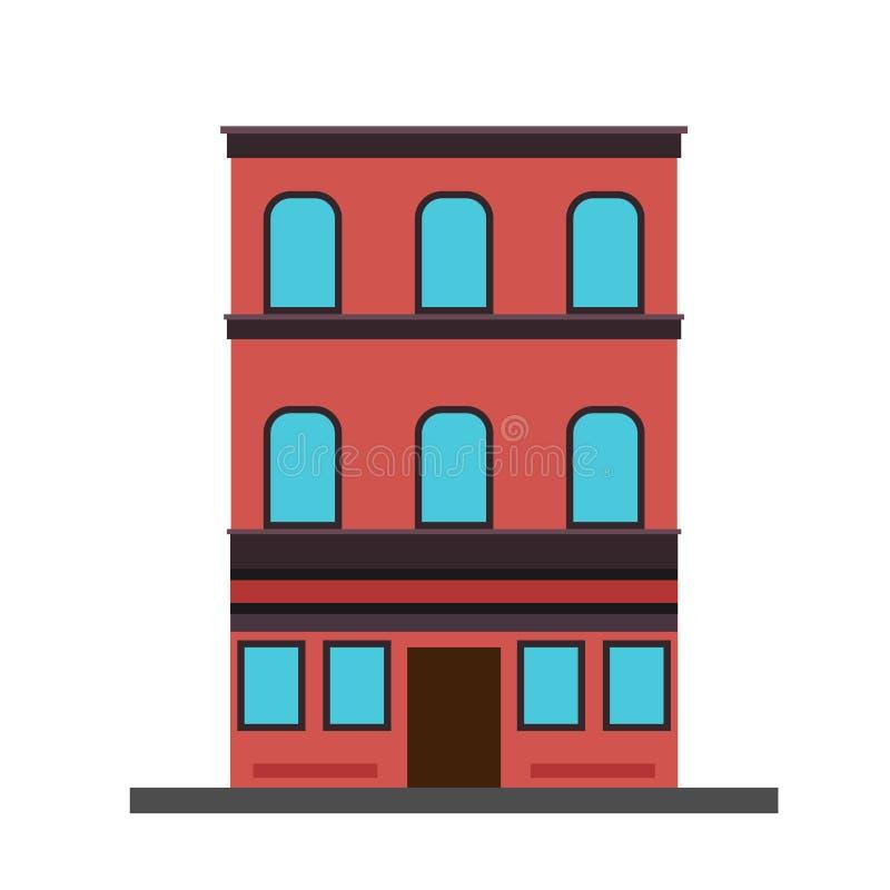 Διαμερισμάτων οικοδόμησης ακίνητη περιουσία δομών έννοιας διανυσματική Εξωτερικό κατοικιών πολυτέλειας αρχιτεκτονικής απεικόνιση αποθεμάτων