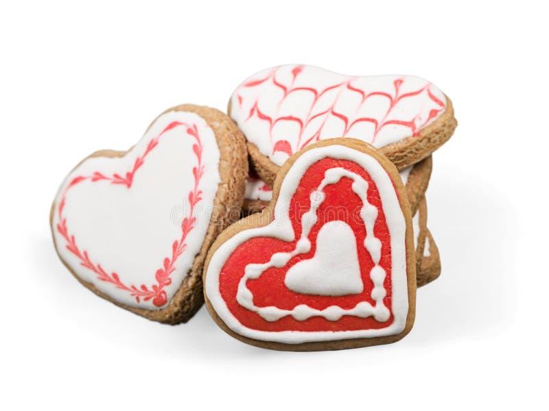 Διαμορφωμένα καρδιά μπισκότα πιπεροριζών για την ημέρα βαλεντίνων ` s στοκ εικόνα