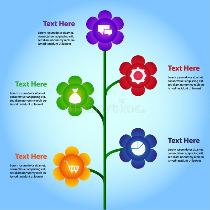 Διαμορφωμένα λουλούδι γραφικά στοιχεία πληροφοριών στο διαφορετικό χρώμα στοκ εικόνες