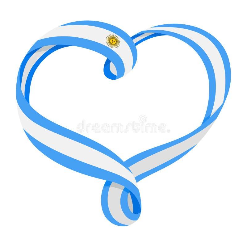 Διαμορφωμένη κορδέλλα καρδιά της Αργεντινής, σύμβολο της αγάπης και αρμονία απεικόνιση αποθεμάτων