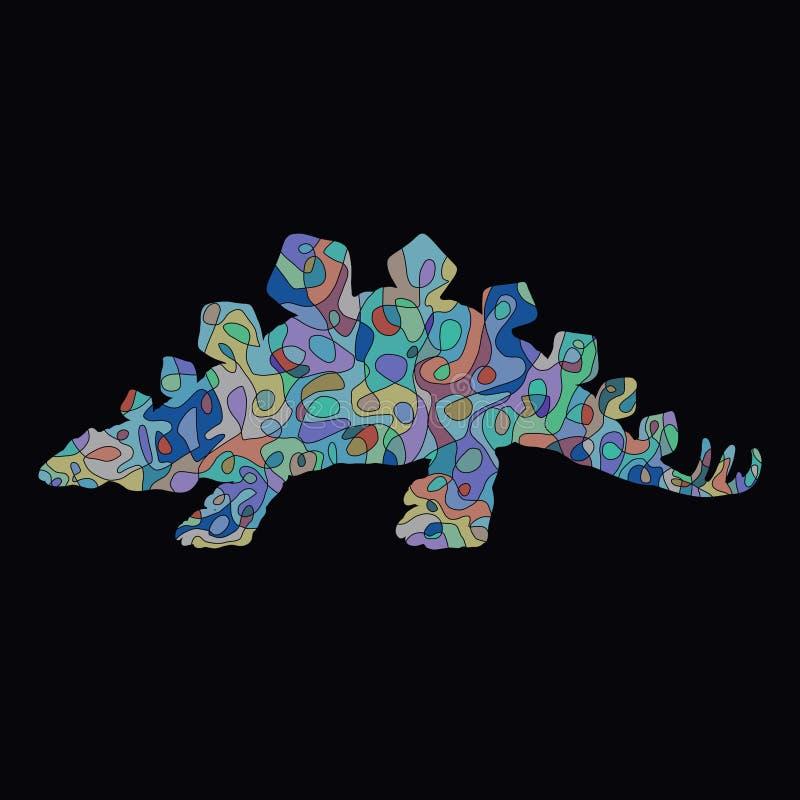 Διαμορφωμένος δημιουργικός δεινόσαυρος με τις ακίδες στην πλάτη του στο μαύρο υπόβαθρο διανυσματική απεικόνιση