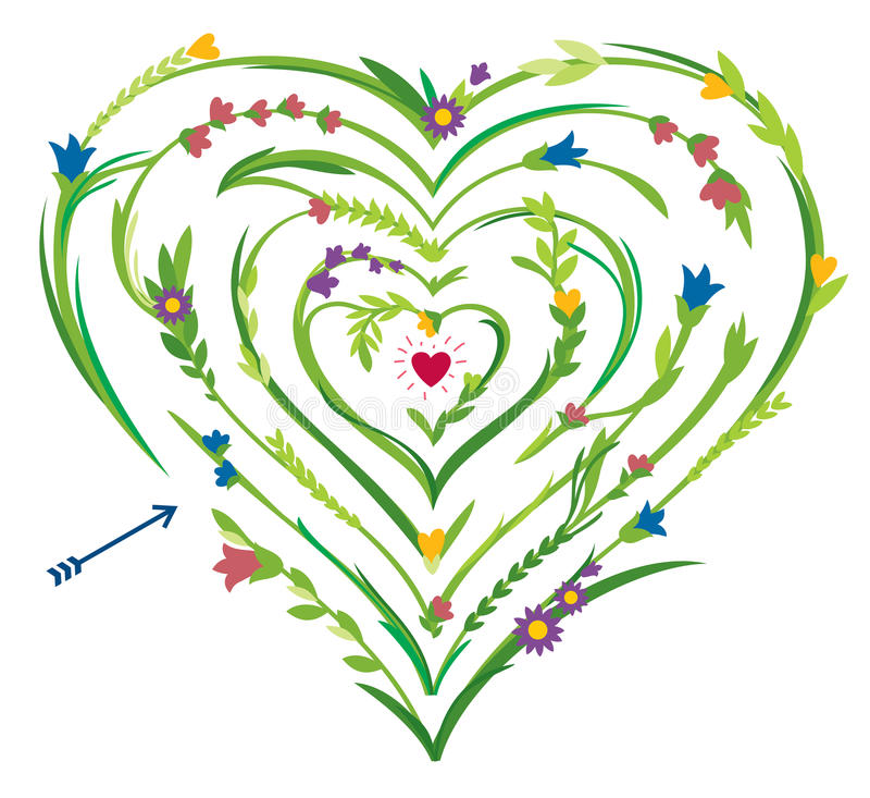 Διαμορφωμένος καρδιά λαβύρινθος με τα Floral στοιχεία ελεύθερη απεικόνιση δικαιώματος