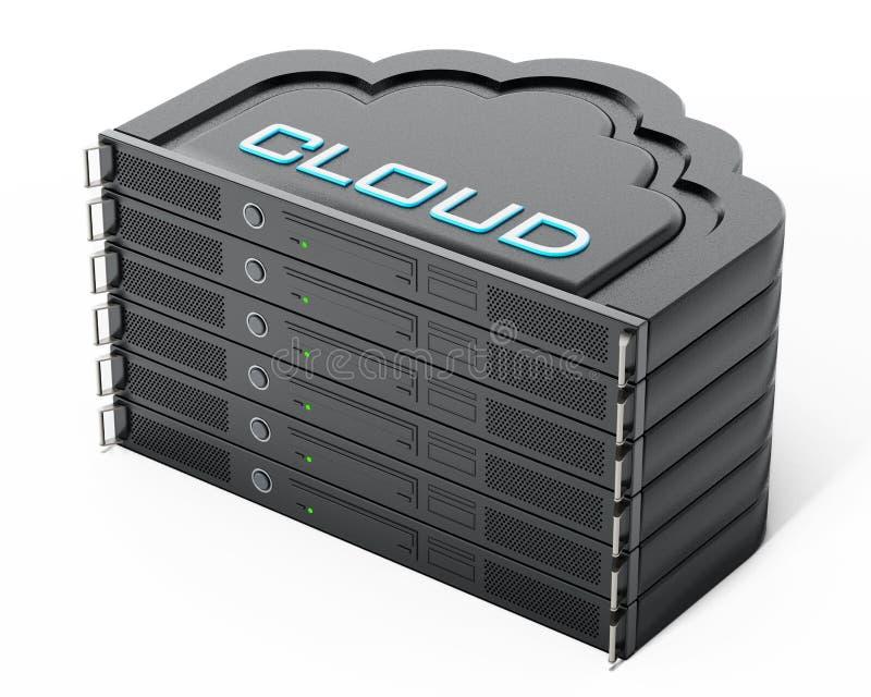 Διαμορφωμένος σύννεφο σωρός ραφιών κεντρικών υπολογιστών δικτύων τρισδιάστατη απεικόνιση διανυσματική απεικόνιση