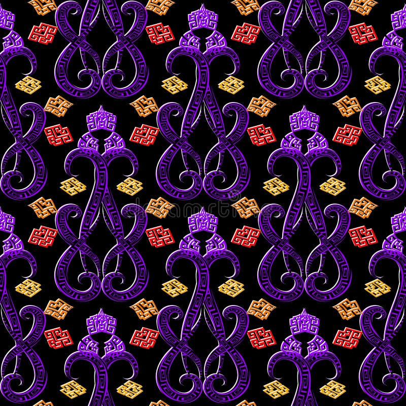 Διαμορφωμένο διακοσμητικό ελληνικό διανυσματικό άνευ ραφής σχέδιο Ζωηρόχρωμο floral αφηρημένο υπόβαθρο Κεραμωμένος ακμάστε το δια ελεύθερη απεικόνιση δικαιώματος