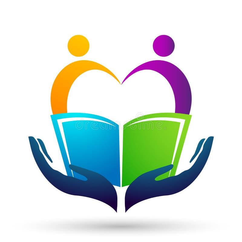 Διαμορφωμένο εικονίδιο παιδιών σχολικών βιβλίων παιδιών λογότυπων παγκόσμιας εκπαίδευσης σφαιρών καρδιά απεικόνιση αποθεμάτων