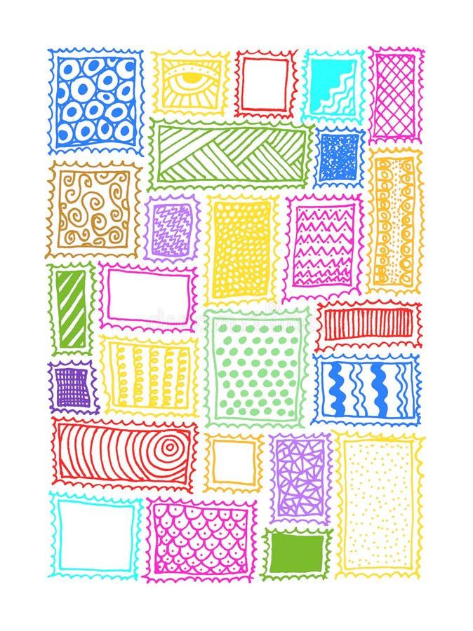 Διαμορφωμένο ζωηρόχρωμο υπόβαθρο γραμματοσήμων διανυσματική απεικόνιση