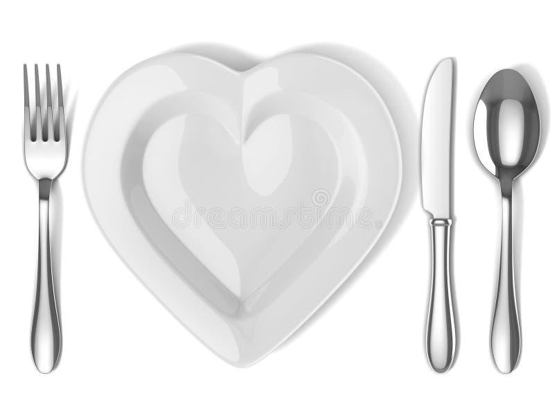 Διαμορφωμένο καρδιά πιάτο με τις ασημικές διανυσματική απεικόνιση