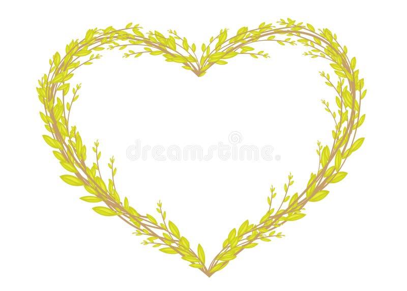 Διαμορφωμένο καρδιά στεφάνι που γίνεται από τους νέους κλάδους ιτιών Διακόσμηση για Πάσχα r ελεύθερη απεικόνιση δικαιώματος