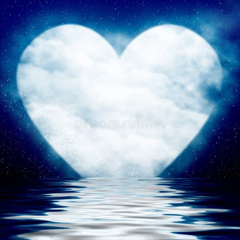 Διαμορφωμένο καρδιά φεγγάρι που απεικονίζεται στον ωκεανό ελεύθερη απεικόνιση δικαιώματος