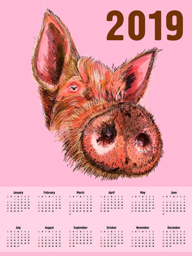 Διαμορφωμένο κεφάλι του κάπρου χοίρος χοίροι Σύμβολο του 2019 Ημερολογιακή κάλυψη Μπορεί να χρησιμοποιηθεί για το σχέδιο μιας μπλ διανυσματική απεικόνιση