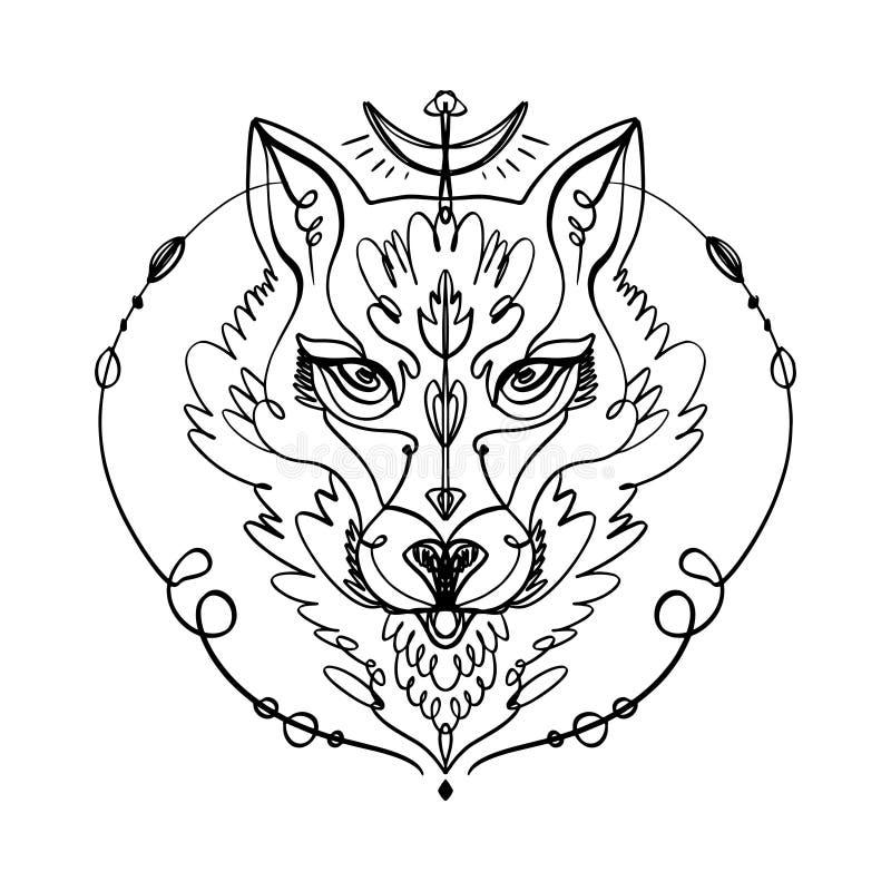 Διαμορφωμένο κεφάλι του λύκου, ζωικό πρόσωπο στο άσπρο υπόβαθρο Αφρικανικό ή ινδικό τοτέμ, ύφος boho, σχέδιο δερματοστιξιών λάμψη διανυσματική απεικόνιση