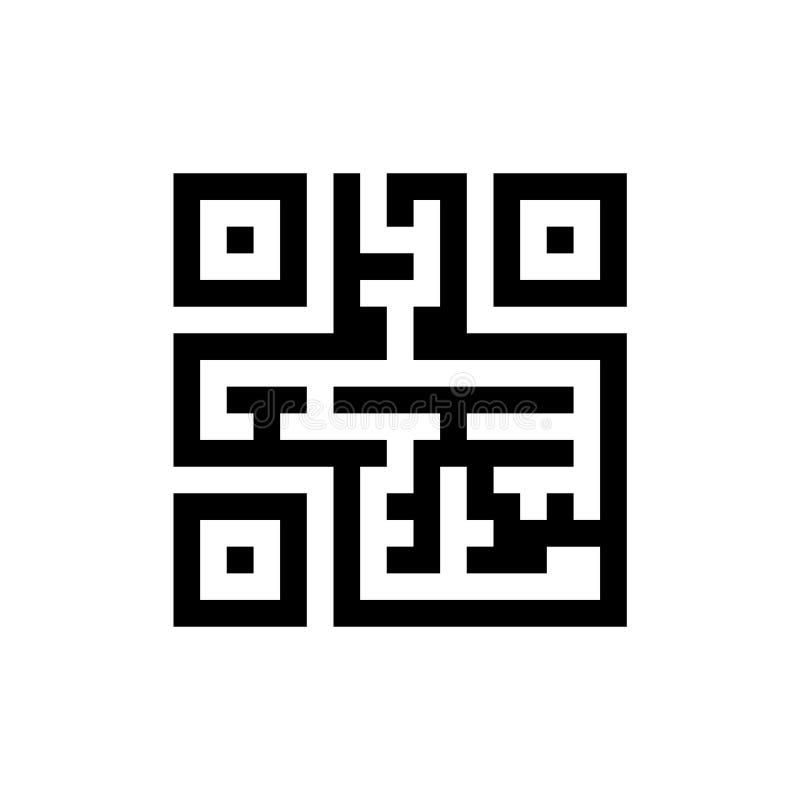 Διαμορφωμένο λαβύρινθος qr εικονίδιο κώδικα που απομονώνεται στο υπόβαθρο ελεύθερη απεικόνιση δικαιώματος