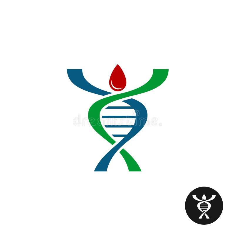 Διαμορφωμένο λογότυπο σκιαγραφιών ατόμων DNA σπείρα διανυσματική απεικόνιση