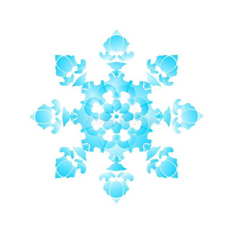 Διαμορφωμένο νιφάδα mandala χιονιού γραφικό στο άσπρο υπόβαθρο διανυσματική απεικόνιση