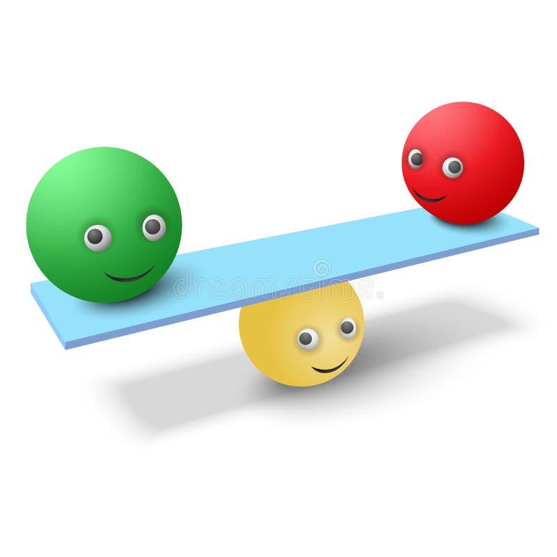 Διαμορφωμένο το σφαίρα smiley κρατά την ισορροπία στο γραφείο απεικόνιση αποθεμάτων