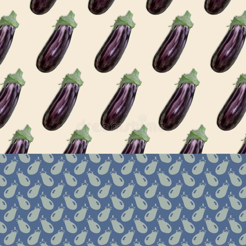 Διαμορφωμένο υπόβαθρο - μελιτζάνες διανυσματική απεικόνιση