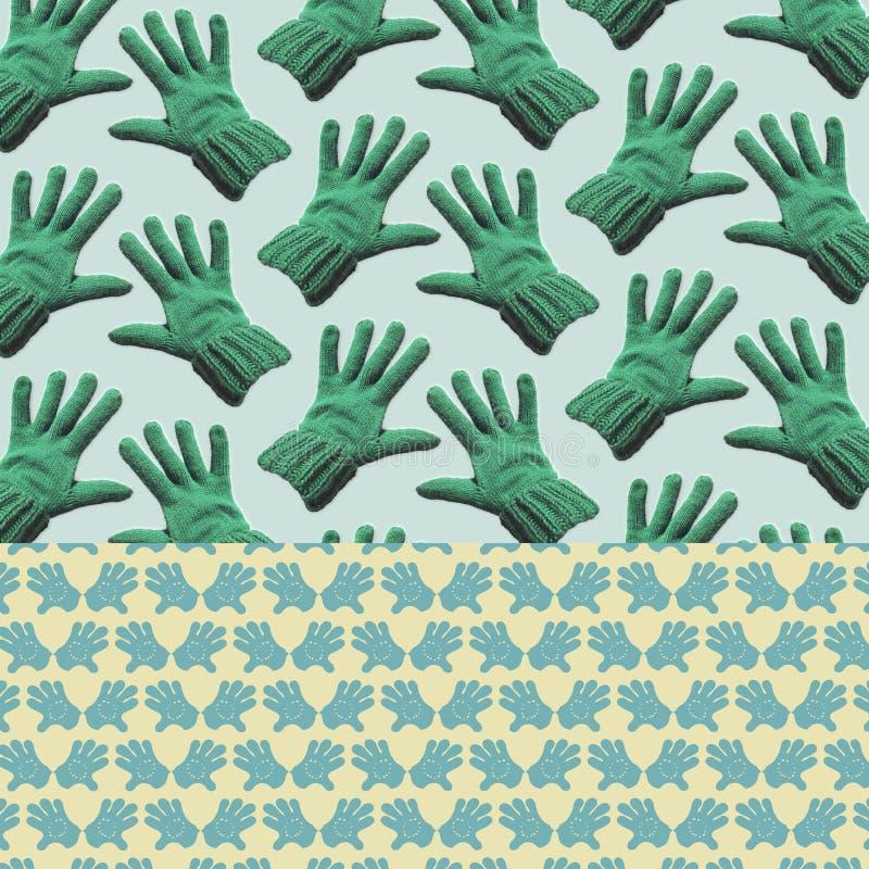Διαμορφωμένο υπόβαθρο - πράσινα γάντια ελεύθερη απεικόνιση δικαιώματος