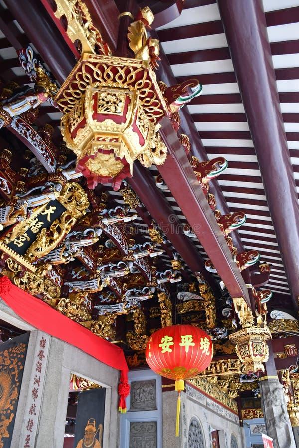 Διαμορφώστε τις γλυπτικές και τις διακοσμήσεις επάνω Hock Thian στο ναό Ε Keng στοκ φωτογραφία με δικαίωμα ελεύθερης χρήσης