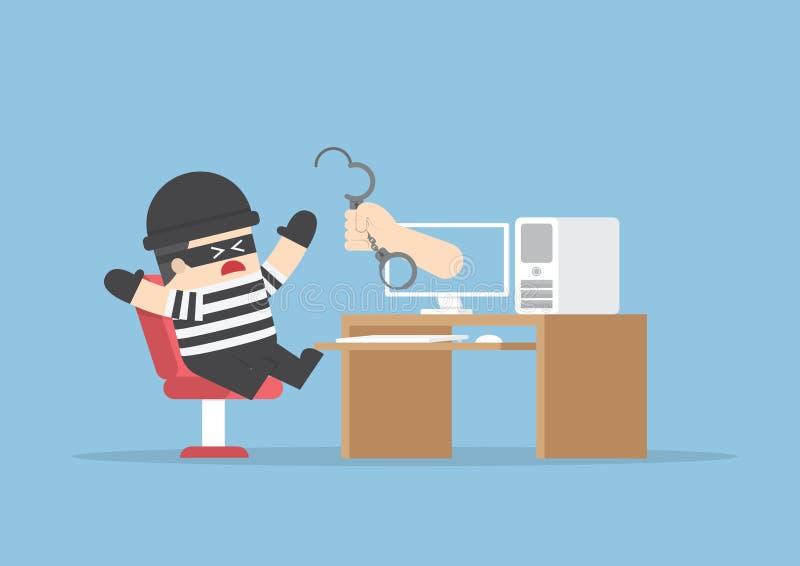 Διανείμετε από το όργανο ελέγχου για να πιάσετε το χάκερ διανυσματική απεικόνιση