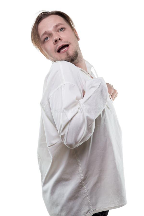 Διανοητικά άρρωστοι στο άσπρο πουκάμισο στοκ εικόνα