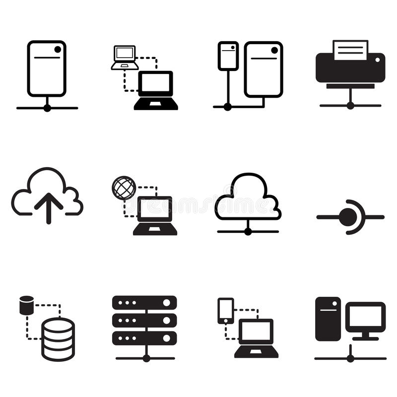 Διανομή στοιχείων, φιλοξενία, κεντρικός υπολογιστής, εικονίδια δικτύων σύννεφων απεικόνιση αποθεμάτων