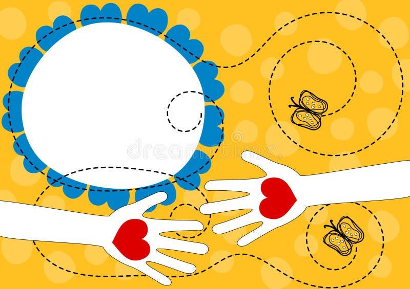 Διανομή των χεριών αγάπης με τη ευχετήρια κάρτα καρδιών διανυσματική απεικόνιση