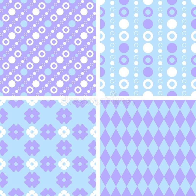 Διανυσματικά άνευ ραφής σχέδια επικεράμωσης - πορφύρα και μπλε απεικόνιση αποθεμάτων