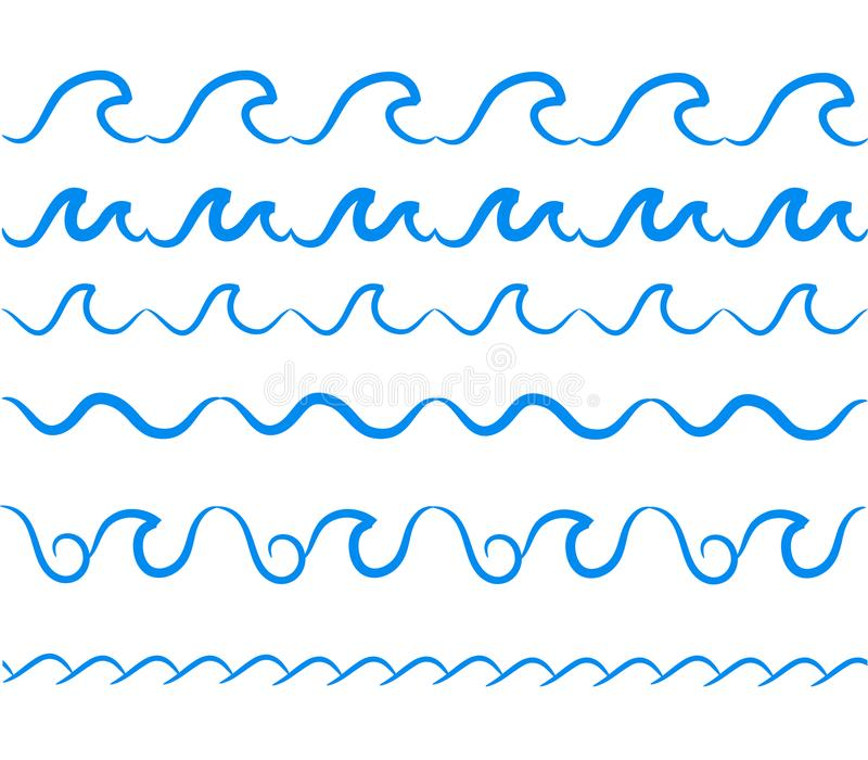 Διανυσματικά άνευ ραφής σύνορα κυμάτων θαλάσσιου νερού καθορισμένα Διακοσμητική θάλασσα κυμάτων ελεύθερη απεικόνιση δικαιώματος