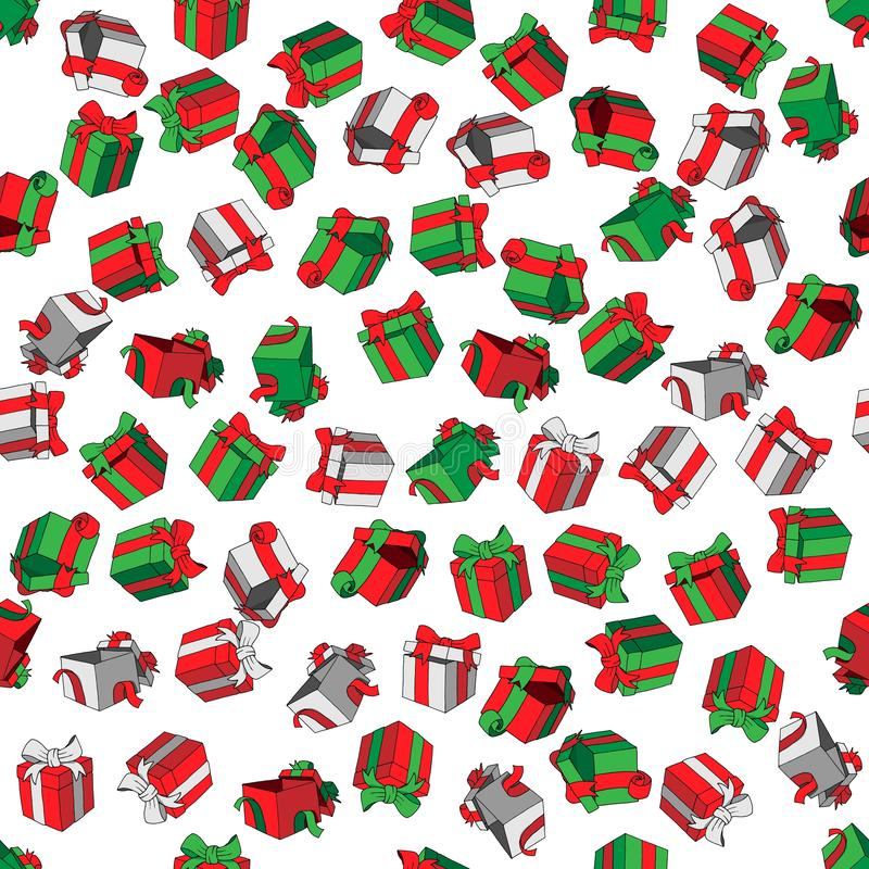 Διανυσματικά άνευ ραφής χρωματισμένα σχέδιο κιβώτια δώρων κινούμενων σχεδίων doodles στο άσπρο υπόβαθρο διανυσματική απεικόνιση
