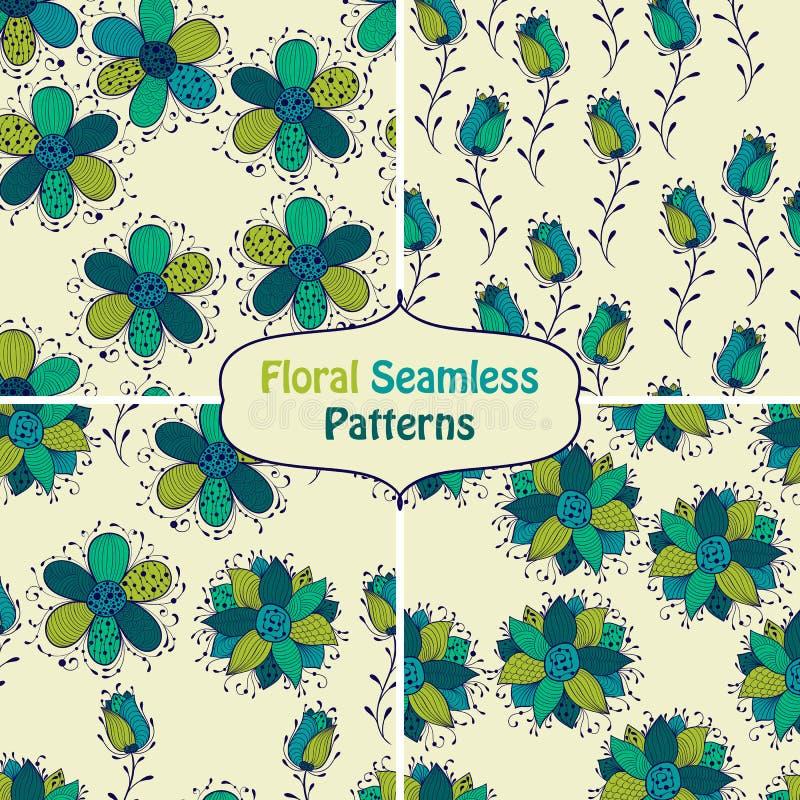 Διανυσματικά άνευ ραφής Floral σχέδια απεικόνιση αποθεμάτων