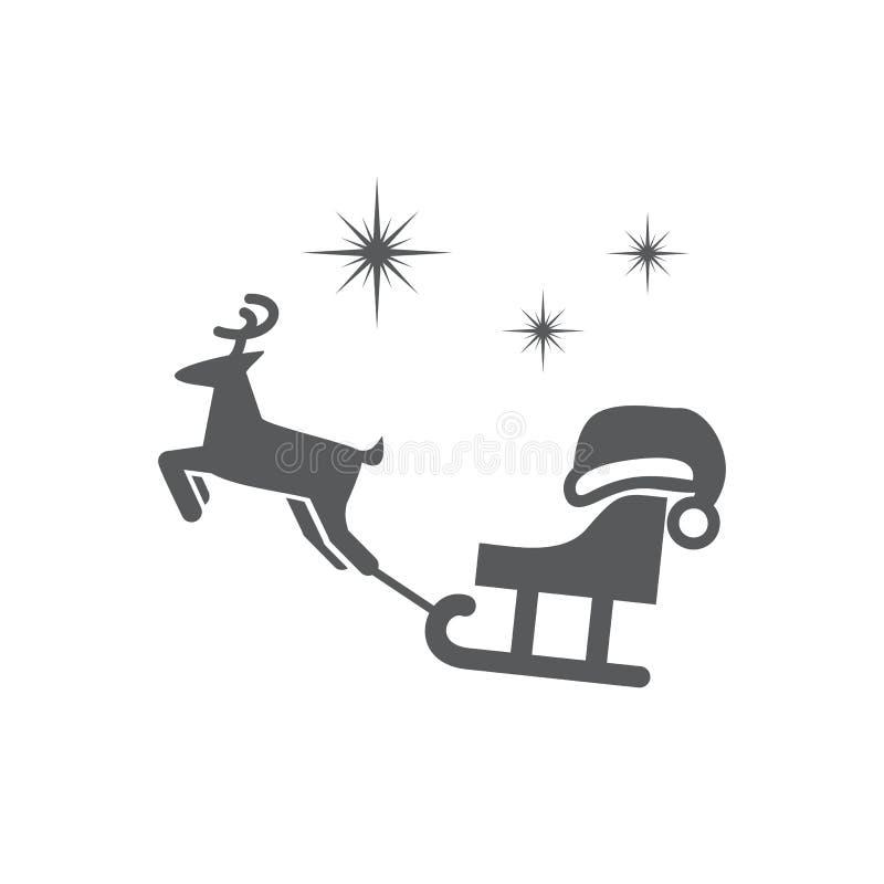 Διανυσματικά έλκηθρο εικόνων, αστέρια, ΚΑΠ Santa και ελάφια απεικόνιση αποθεμάτων