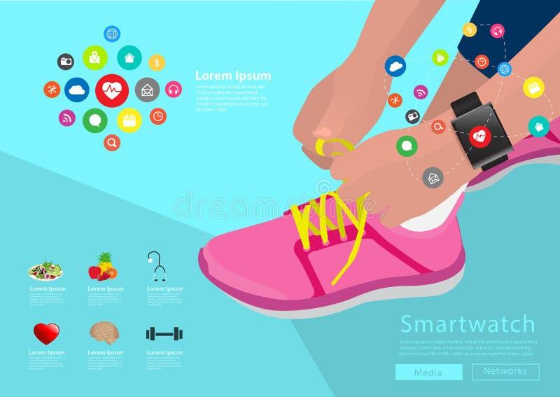 Διανυσματικά δένοντας κορδόνια χεριών αθλητριών που φορούν smartwatch ελεύθερη απεικόνιση δικαιώματος