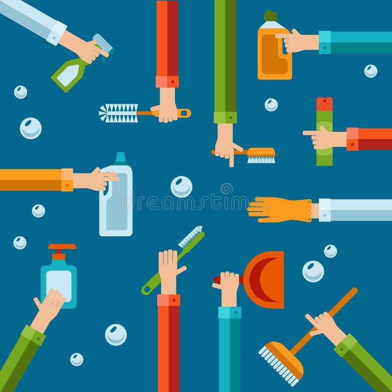 Διανυσματικά ανθρώπινα χέρια που χρησιμοποιούν τα επίπεδα εικονίδια καθαρίζοντας προϊόντων ελεύθερη απεικόνιση δικαιώματος