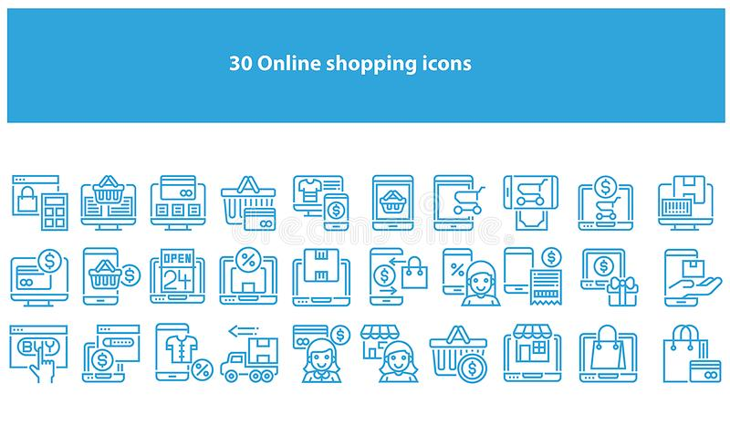 Διανυσματικά ανοικτό μπλε σε απευθείας σύνδεση εικονίδια αγορών - διάνυσμα διανυσματική απεικόνιση
