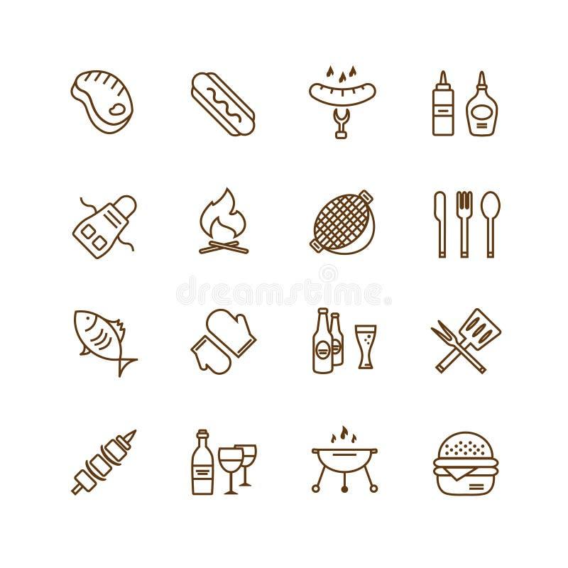 Διανυσματικά αντικείμενα εικονιδίων σχαρών και τροφίμων καθορισμένα διανυσματική απεικόνιση