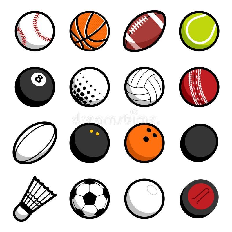 Διανυσματικά απομονωμένα εικονίδιο αντικείμενα λογότυπων αθλητικών σφαιρών παιχνιδιού καθορισμένα ελεύθερη απεικόνιση δικαιώματος