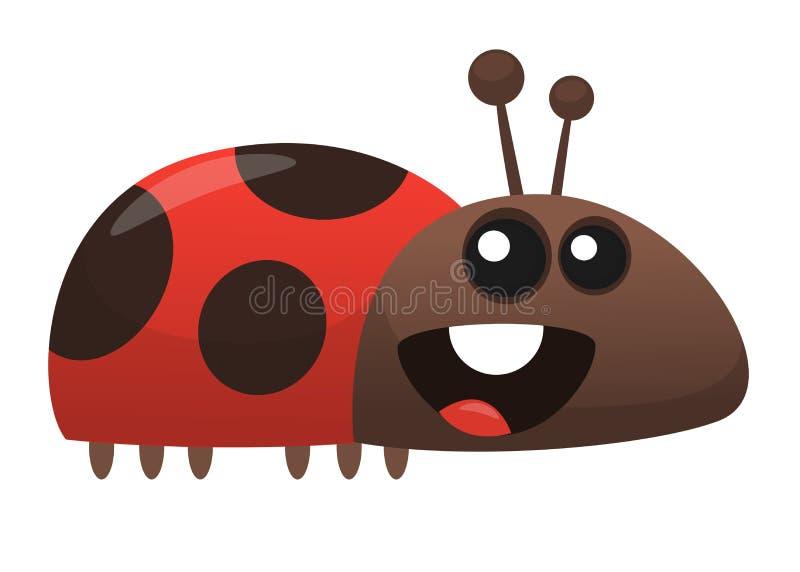 Διανυσματικά αστεία κινούμενα σχέδια ladybug Απομονωμένος στο λευκό απεικόνιση αποθεμάτων