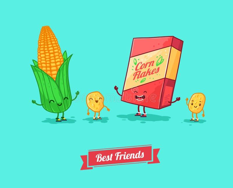 Διανυσματικά αστεία κινούμενα σχέδια Αστεία δημητριακά και καλύτεροι φίλοι καλαμποκιού διανυσματική απεικόνιση
