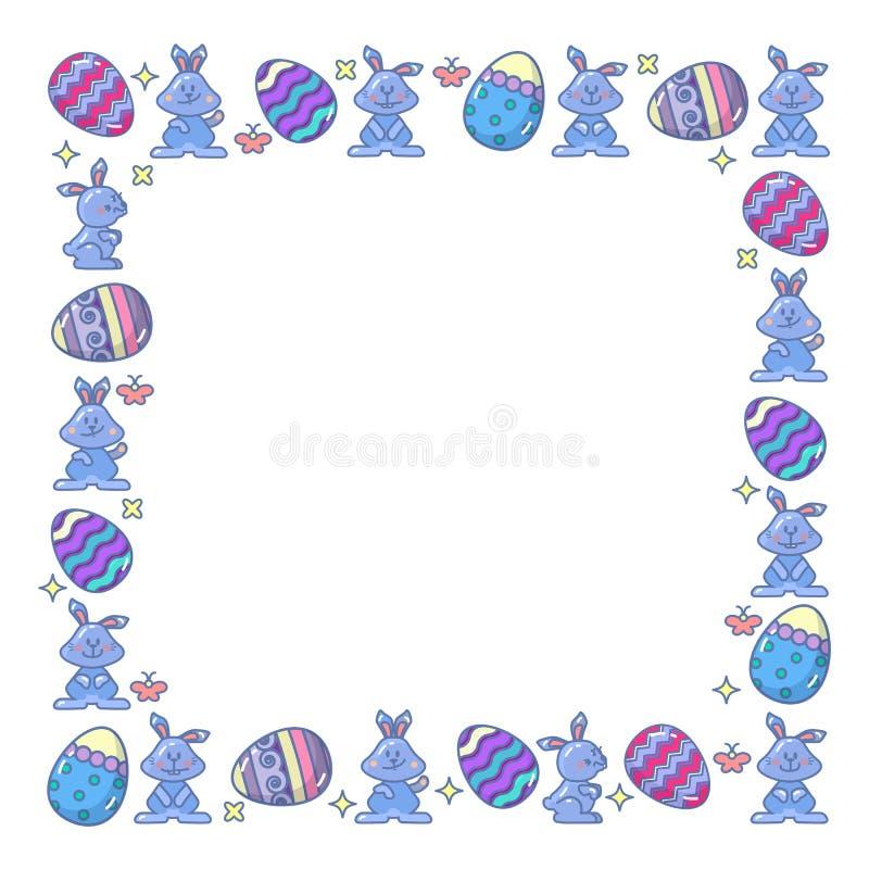 Διανυσματικά αυγά Πάσχας και λαγουδάκι που τακτοποιούνται στο τετράγωνο απεικόνιση αποθεμάτων