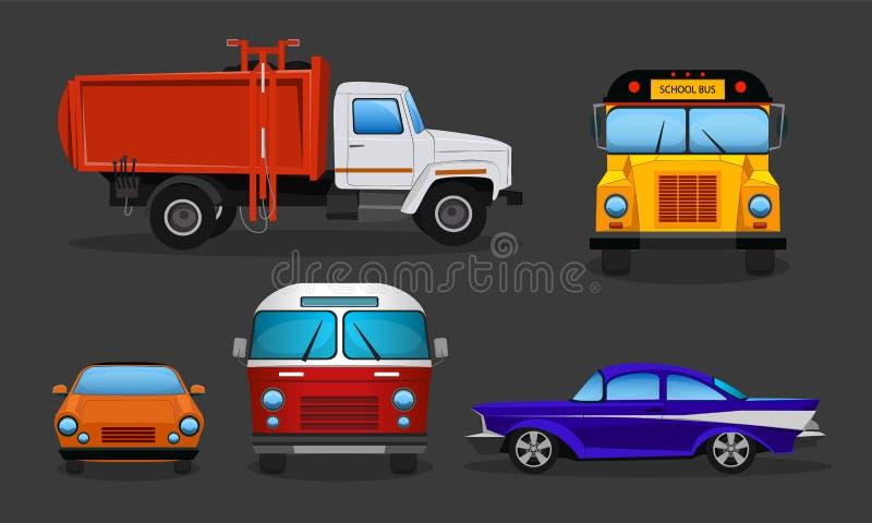 Διανυσματικά αυτοκίνητα κινούμενων σχεδίων - σχολικό λεωφορείο, φορτηγό απορριμάτων διανυσματική απεικόνιση