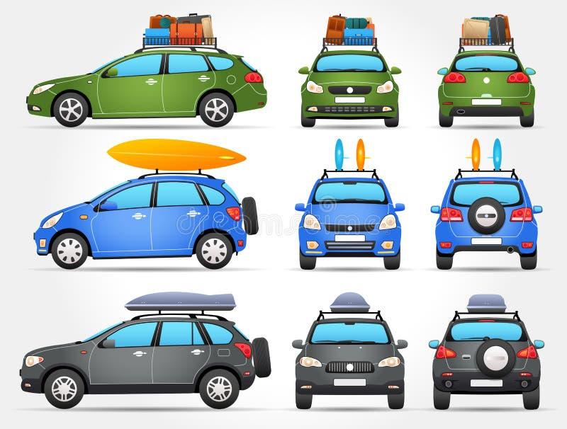 Διανυσματικά αυτοκίνητα ταξιδιού - πλευρά - μέτωπο - πίσω άποψη διανυσματική απεικόνιση