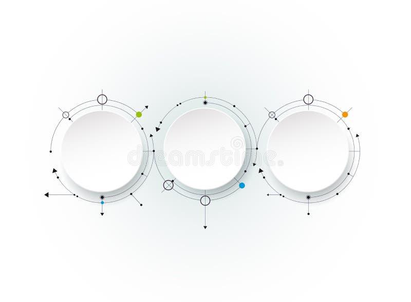 Διανυσματικά αφηρημένα μόρια με την τρισδιάστατη ετικέτα εγγράφου, ενσωματωμένοι κύκλοι Κενό διάστημα για το περιεχόμενο ελεύθερη απεικόνιση δικαιώματος