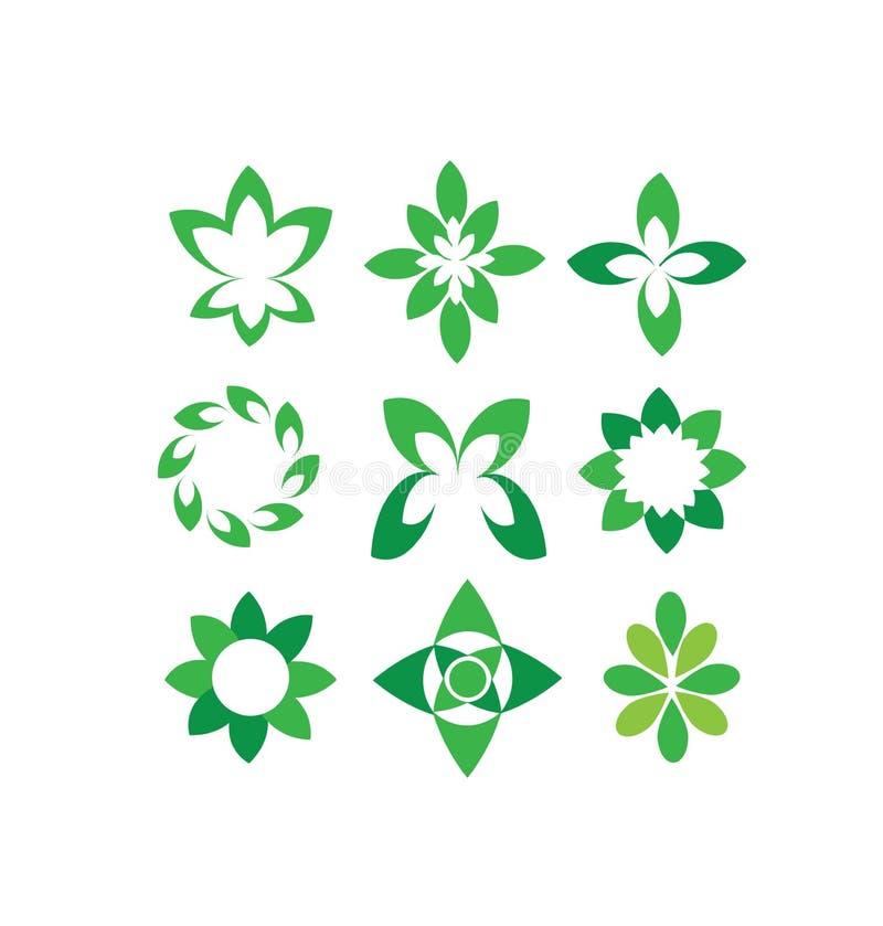 Διανυσματικά αφηρημένα πράσινα πέταλα, στρογγυλές μορφές, σύμβολα καθορισμένα ελεύθερη απεικόνιση δικαιώματος