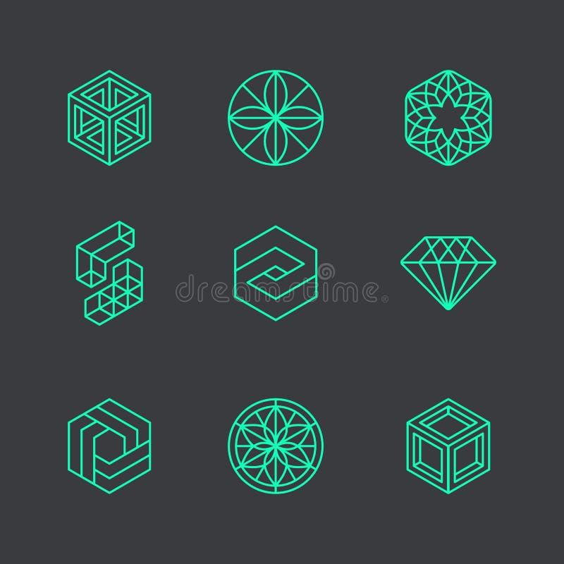 Διανυσματικά αφηρημένα σύγχρονα πρότυπα σχεδίου λογότυπων διανυσματική απεικόνιση
