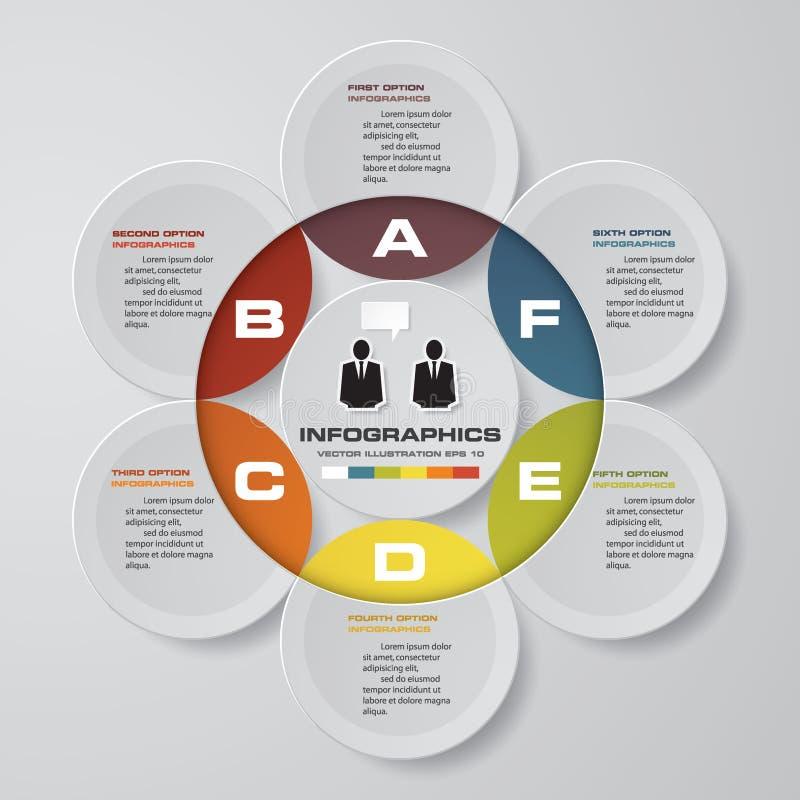 Διανυσματικά αφηρημένα 6 infographic στοιχεία βημάτων Infographics εγκυκλίων ή κύκλων απεικόνιση αποθεμάτων