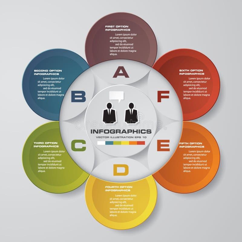 Διανυσματικά αφηρημένα 6 infographic στοιχεία βημάτων Infographics εγκυκλίων ή κύκλων διανυσματική απεικόνιση