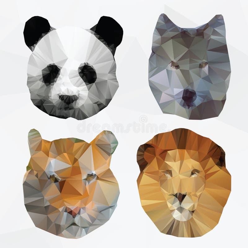 Διανυσματικά αφηρημένα polygonal ζώα διανυσματική απεικόνιση