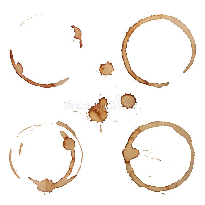 Διανυσματικά δαχτυλίδια λεκέδων καφέ καθορισμένα διανυσματική απεικόνιση